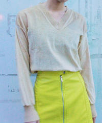 【Used】V neck light beige tops /Vネックトップス