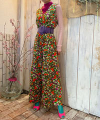 【Vintage】1970's Chinoiserie pattern salopette / シノワズリ柄サロペット
