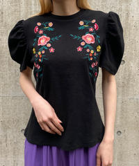 【Used】Flower embroidery puff sleeve tops / 花柄刺繍パフスリーブトップス