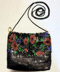 【Used Item】 Flower patten shoulder bag / メタルメッシュ花柄バッグ