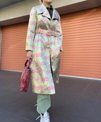 【Vintage】1970's Jacquard flower coat / 1970年代ジャガード花柄コート