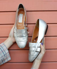 【Used】Silver  leather flat shoes /  シルバーレザーフラットシューズ