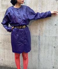 【Used】 Leather jacket / ノーカラーレザージャケット