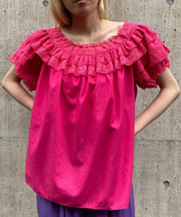 【Vintage】Frill lace   gather tops / レースフリルギャザートップス