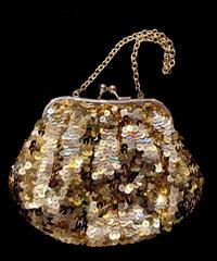 【Used Item】Gold spangle hand bag / ゴールドスパンコールハンドバッグ