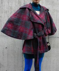 【Used】Plaid flare sleeve coat / チェックフレア袖コート