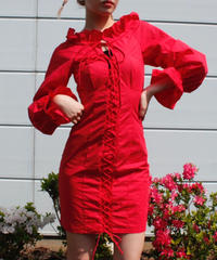 【Used】Red lace up dress / レースアップドレス
