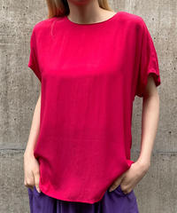 "【Used】Silk tops ""shocking pink ""  / シルクトップス"