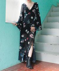 【migration】V-neck flower design Long dress  /  Vネック花柄ロング丈ワンピース