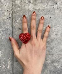 【Used】Heart shaped rhinestone ring / ハート型ラインストーンリング