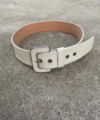 "【Used】Leather wide belt "" White "" / レザー太ベルト"