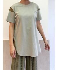 [Lallia Mu]シアースリーブTシャツ【ライトグリーン】