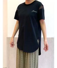 [Lallia Mu]シアースリーブTシャツ【ブラック】