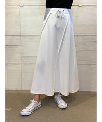 [COOLA]ステッチパターンロングスカート【ホワイト】