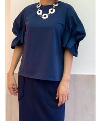 [Lallia Mu]バドスリーブTシャツ【ネイビー】