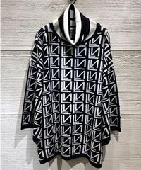 ◆NEW◆モノトーン織柄ニット【ブラック】