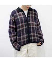 check zip-up knit cardigan