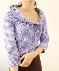 gingham check gather blouse