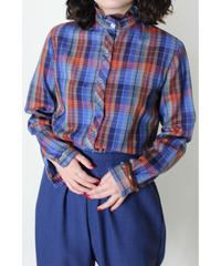 stand collar Madras check blouse