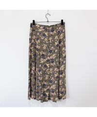 khaki flower pattern long skirt