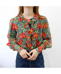 flower pattern see-through frill blouse