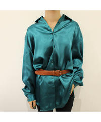 made in USA turquoise blue satin shirt