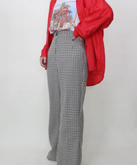 check pattern flare pants
