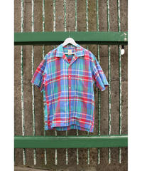 italy check open collar shirt