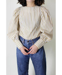 power shoulder stripe blouse