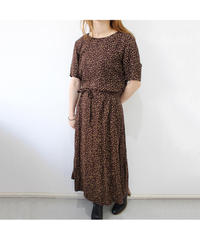 brown flower pattern one-piece