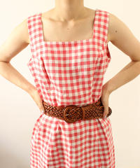 【lauraashley】linen100% gingham check one-piece