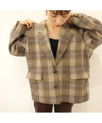 beige check wool  jacket