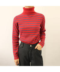 border turtleneck sweater red