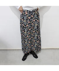 black  flower pattern long skirt