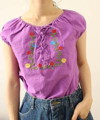 linen purple blouse
