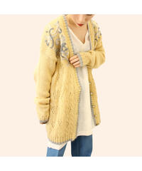 【LA buying】mohair embroidery cardigan