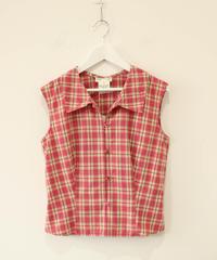 【agnes b.】check nosleeve blouse