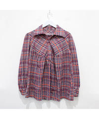 Madras check gather blouse