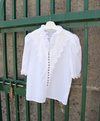 frill neck half sleeve folklore  blouse