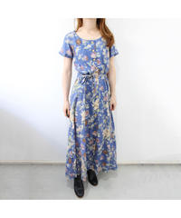 blue flower pattern one-piece