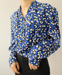 blue flower no collar blouse