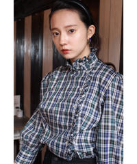 check pattern frill blouse