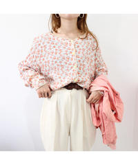 no collar flower pattern blouse