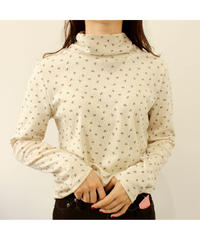 flower×dot high neck tops