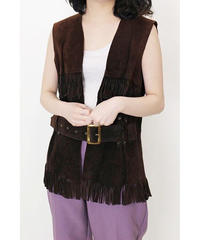 real leather fringe vest
