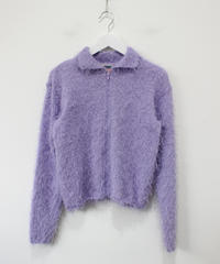 purple shaggy cardigan