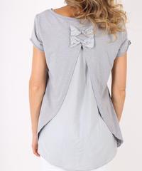 ダブルバックリボン Tシャツ / Light grey