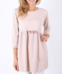 フロントフラワーフレアシャツ/Pink