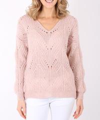 AVネック穴あきセーター/Pink