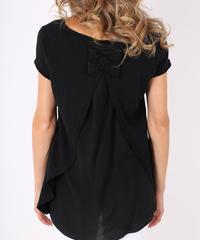 ダブルバックリボン Tシャツ / Black